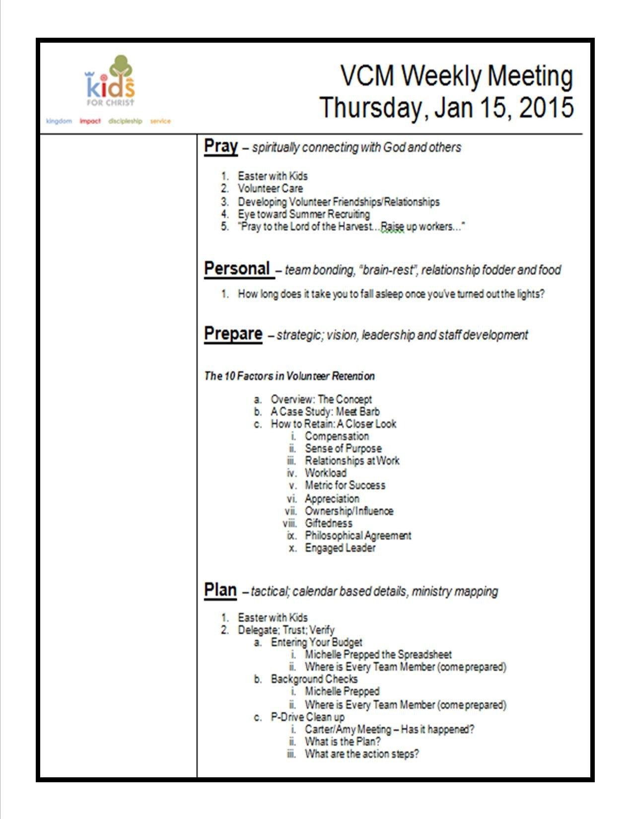 Church Staff Meeting Agenda Template How to Create A Meeting Agenda Kidminscience