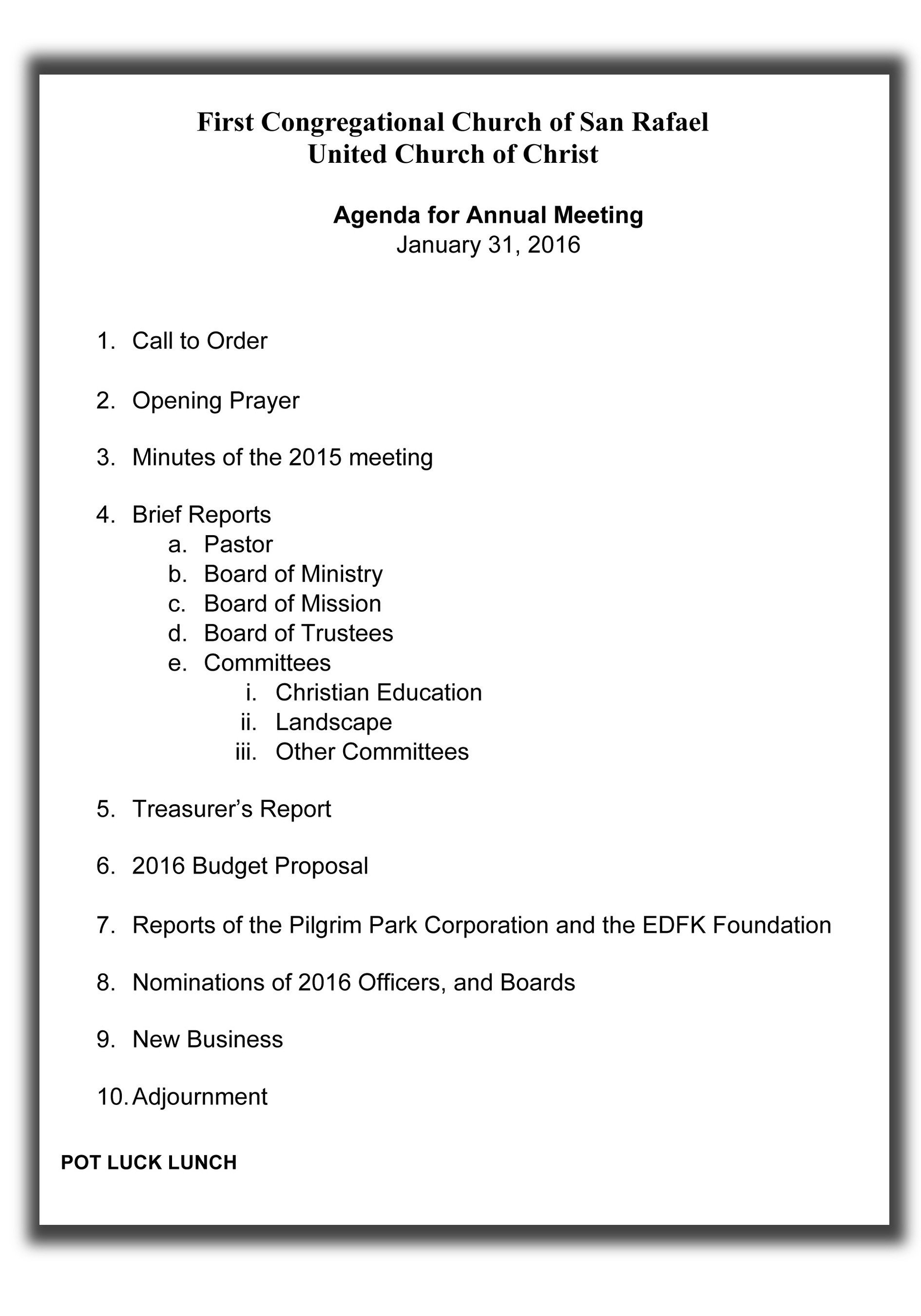Church Staff Meeting Agenda Template Opening Prayer for Church Business Meeting
