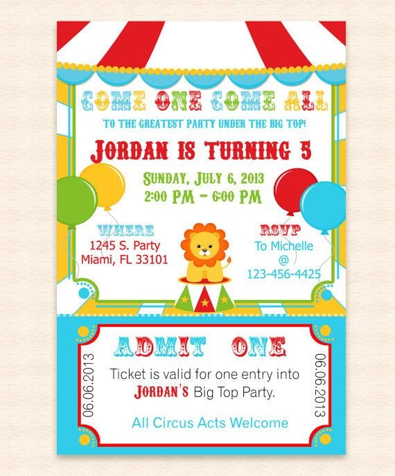 Circus Invitation Template Free Big top Circus Printable Invitation Design Editable
