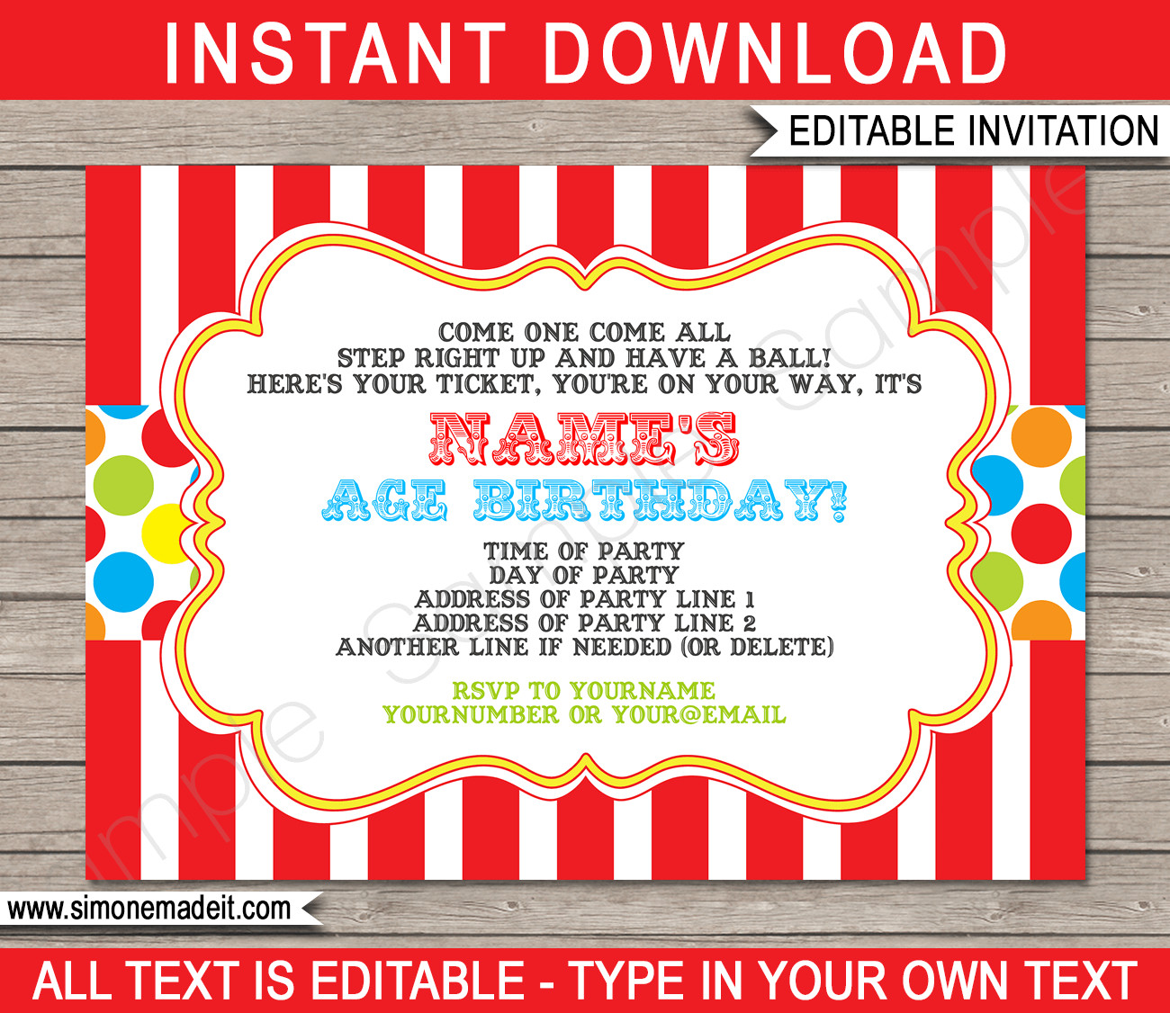 Circus Invitation Template Free Carnival Invitation Template
