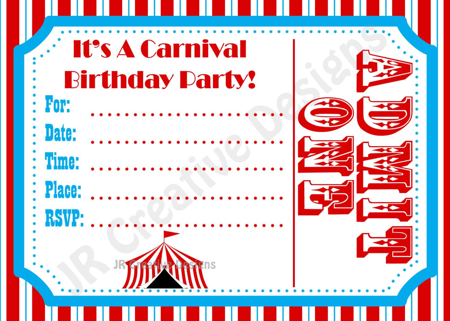Circus Invitation Template Free Carnival Invite Circus Invite Circus by Jrcreativedesigns