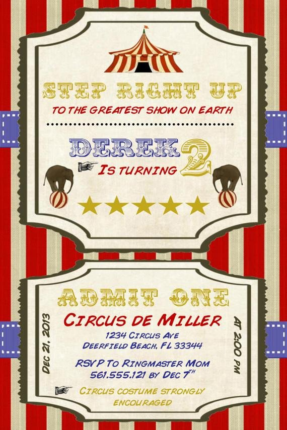 Circus Invitation Template Free Circus Birthday Invitation Template