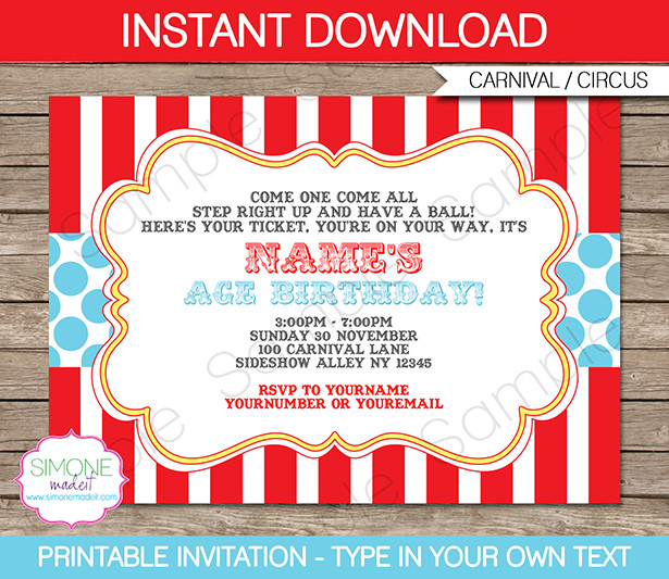 Circus Invitation Template Red Aqua