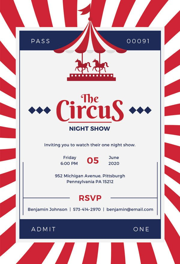 Circus Invitation Template Free Circus Party Invitation Template 24 Free Jpg Psd