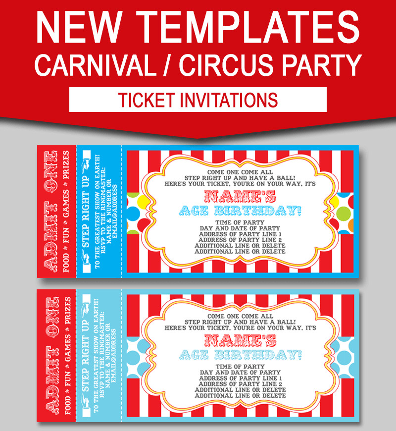 Circus Invitation Template Free Editable Carnival Ticket Invitations