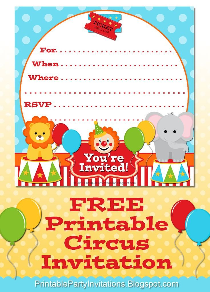 Circus Invitation Template Free Free Printable Circus Party Invitation