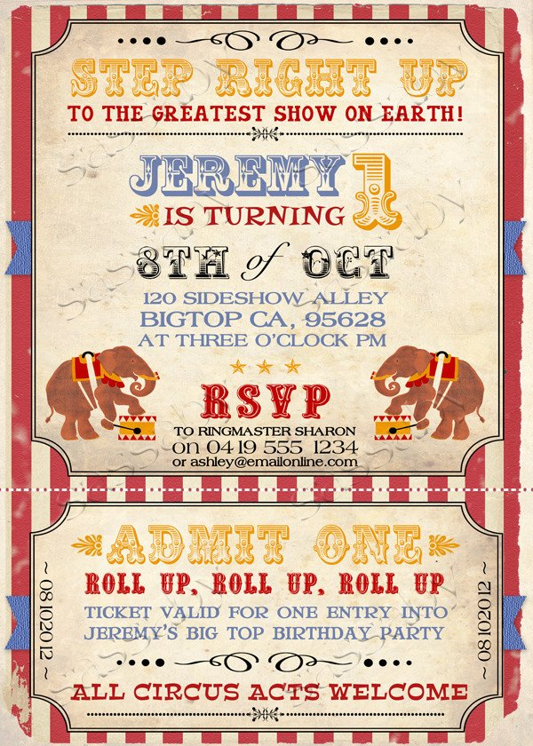 Circus Invitation Template Free Vintage Circus Invitation