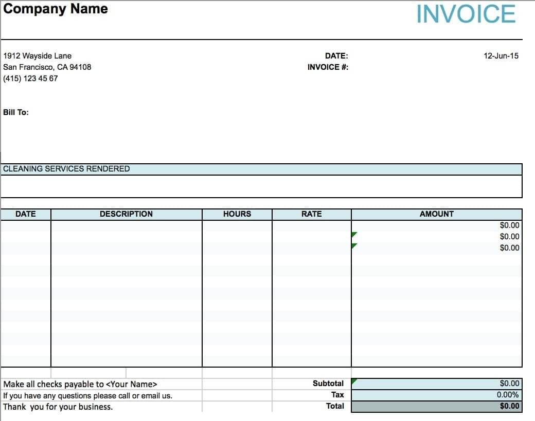 Cleaning Services Invoice Template Cleaning Service Invoice Invoice Template Ideas