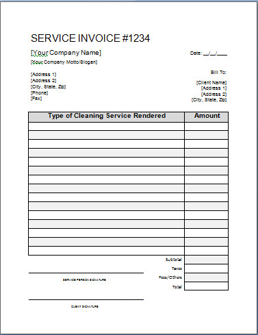 Cleaning Services Invoice Template Printable Cleaning Service Receipts
