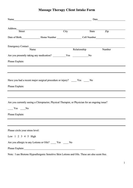 Client Intake form Template Massage therapy Client Intake form Printable Pdf