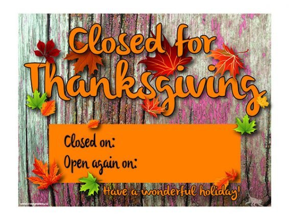 Closing Early Sign Template Creepy Monkey Closed for Thanksgiving Door or Window Sign