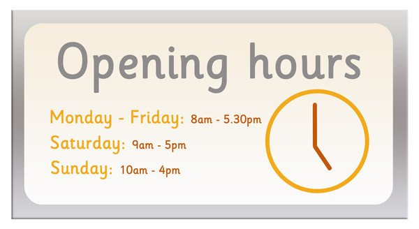 Closing Early Sign Template Opening Hours Sign