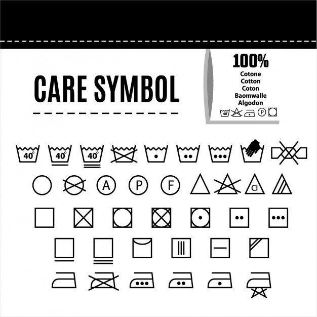 Clothing Care Label Template Clothes Care Symbols Vector