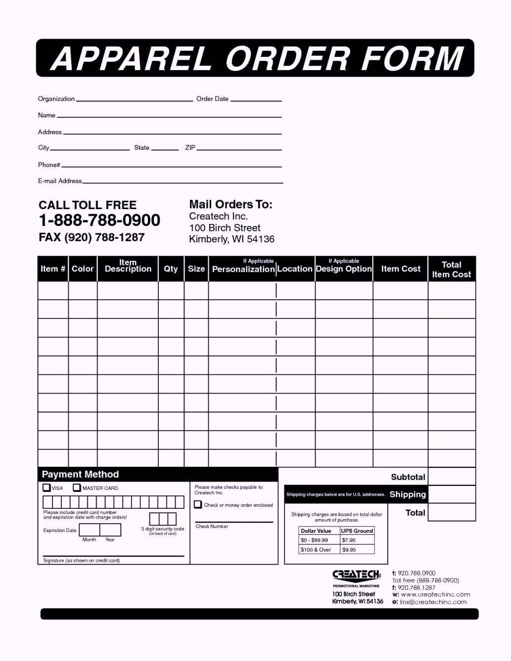 Clothing Order Form Templates Template Update234