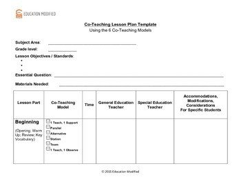 Co Teaching Planning Template Co Teaching Lesson Plan Template Customizable