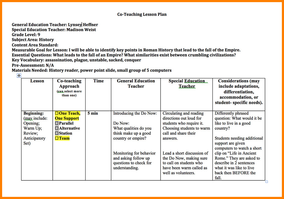 Co Teaching Planning Template Co Teaching Lesson Plan Template Lawteched
