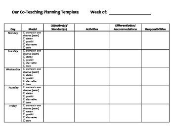 Co Teaching Planning Template Co Teaching Planning Template by Bramble2