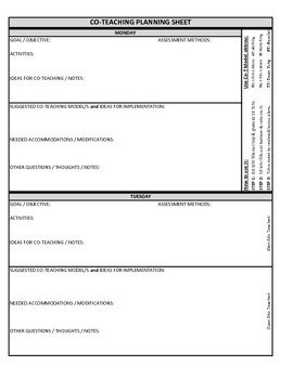 Co Teaching Planning Template version 3 of 3 by Justin
