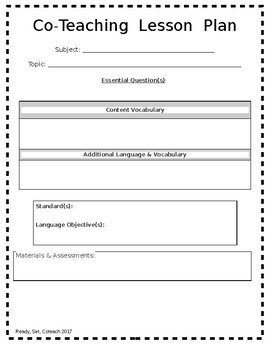 Co Teaching Planning Template Editable Coteaching Lesson Plan Template by