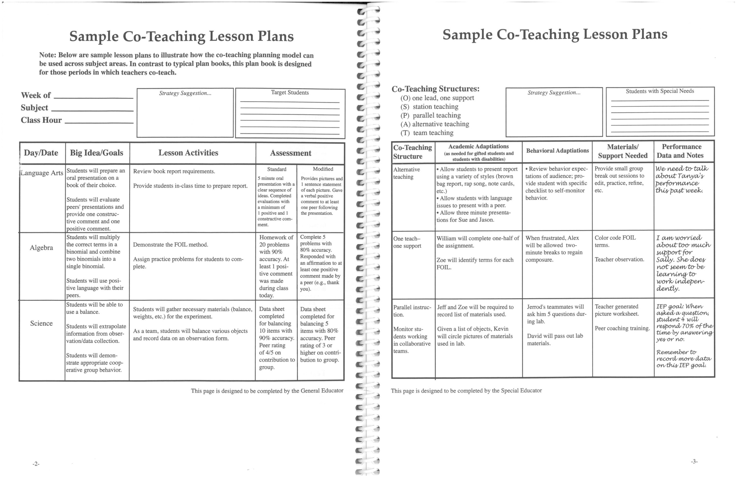 Co Teaching Planning Template Printable Co Teaching Lesson Plans 2 with Teaching Lesson