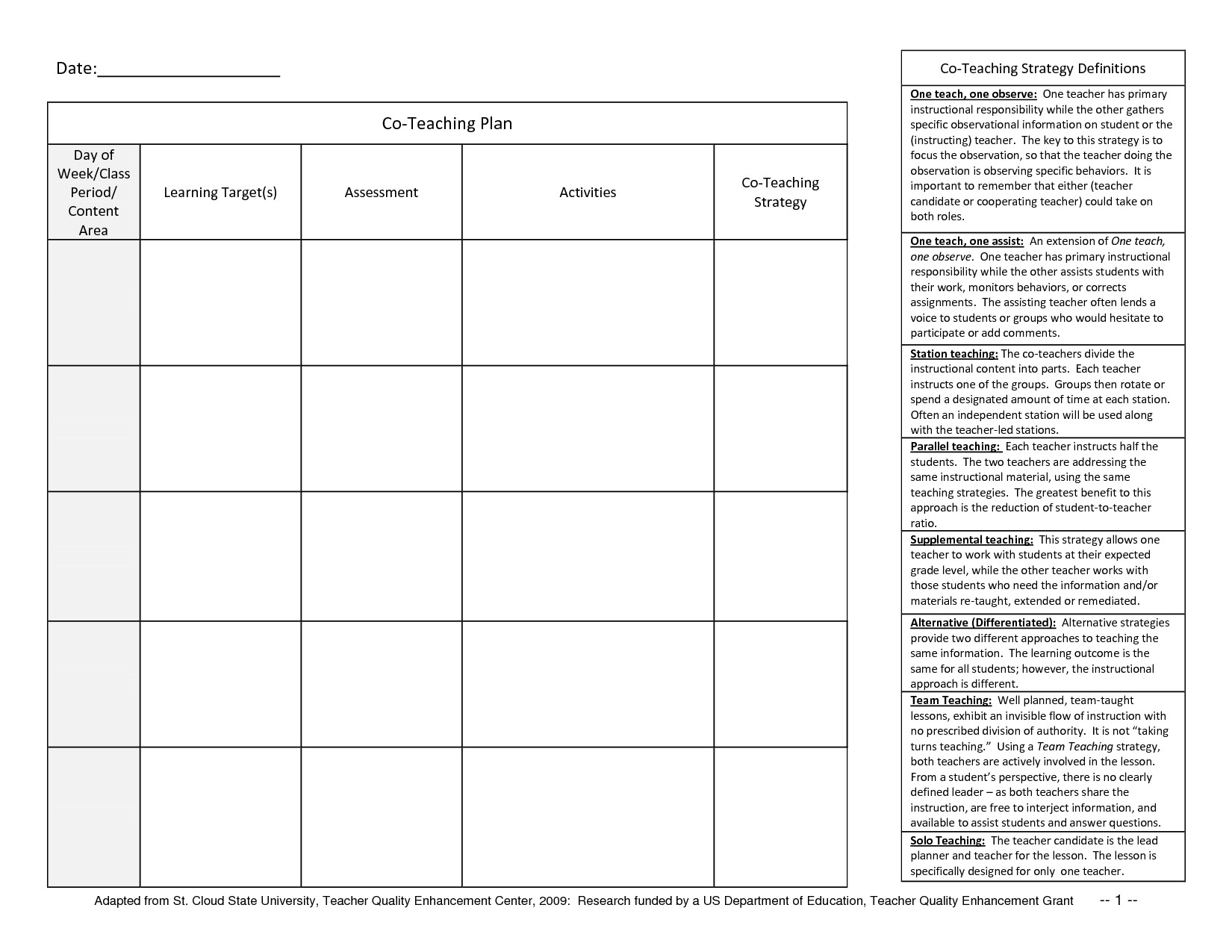Co Teaching Planning Template Student Planner Templates