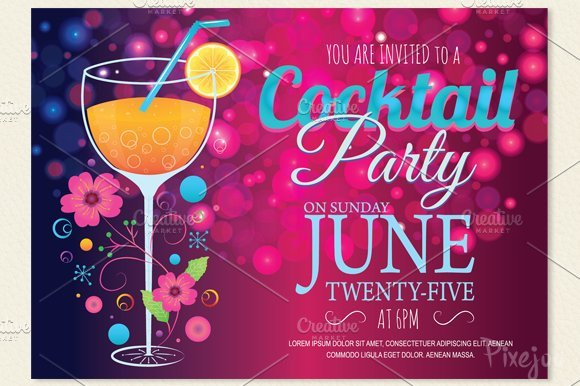 Cocktail Party Invitation Template Cocktail Party Invitation Card Postcard Templates