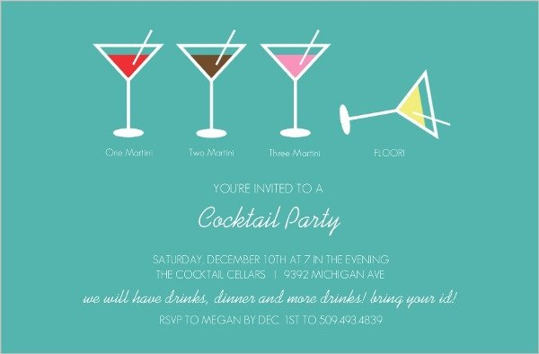 Cocktail Party Invitation Template Martini Cocktail Party Invitation