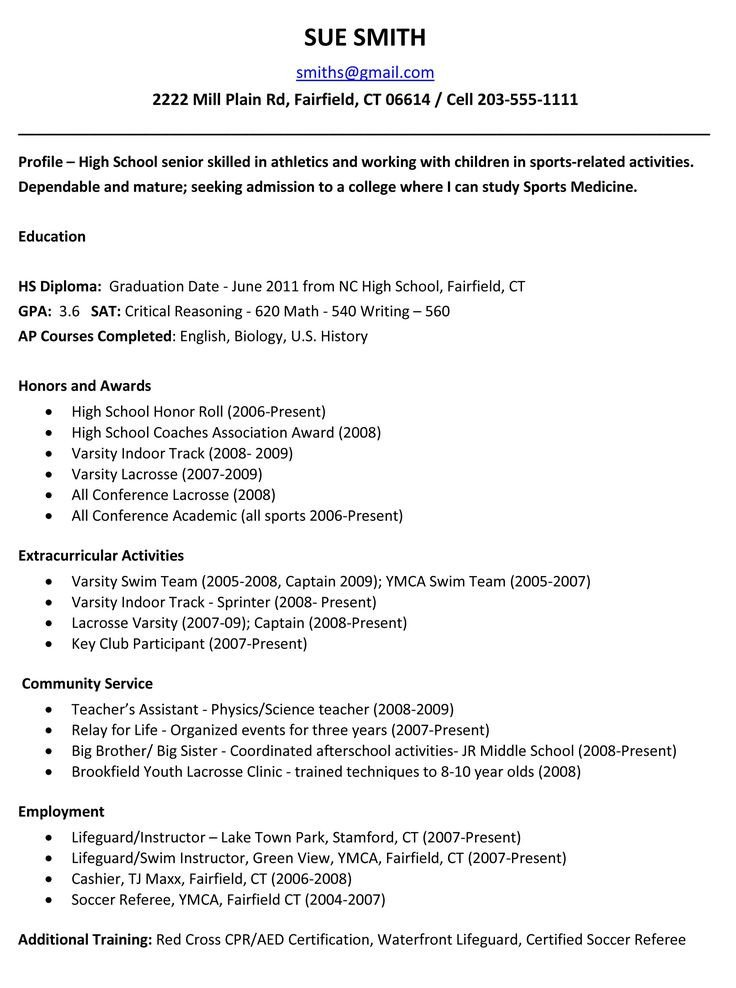 College Admissions Resume Templates 25 Best Ideas About High School Resume On Pinterest
