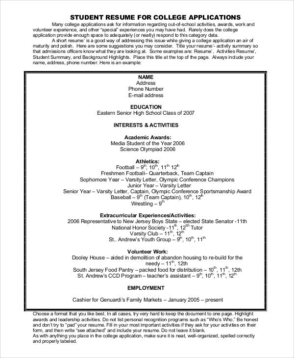 College Admissions Resume Templates College Resume Example 8 Samples In Word Pdf
