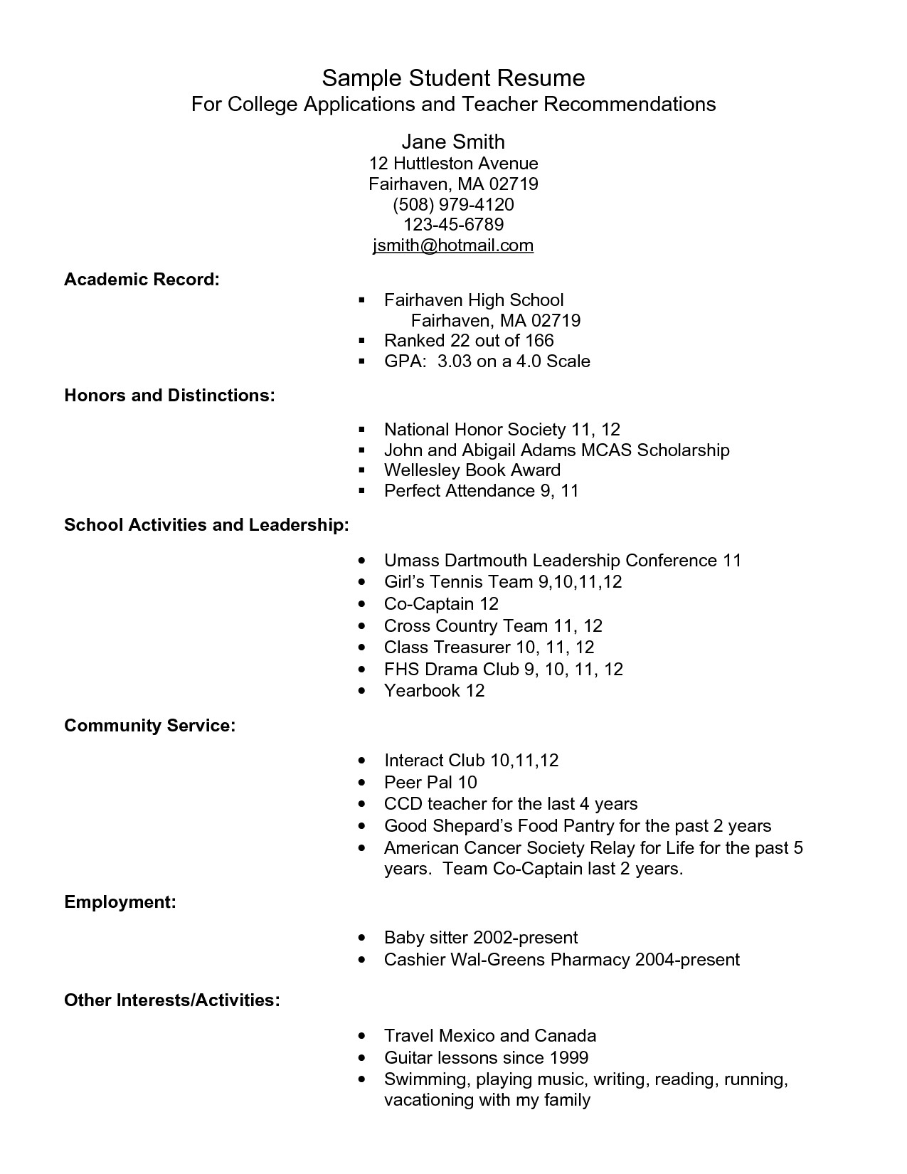College Admissions Resume Templates Example Resume for High School Students for College