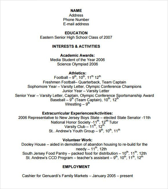 College Admissions Resume Templates Sample College Resume 8 Free Samples Examples format