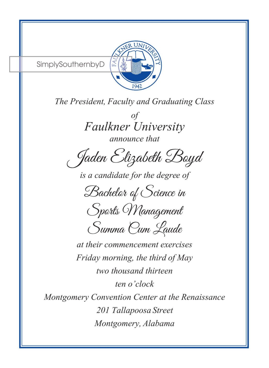 College Graduation Announcements Template College Graduation Announcements by Simplysouthernbyd On Etsy