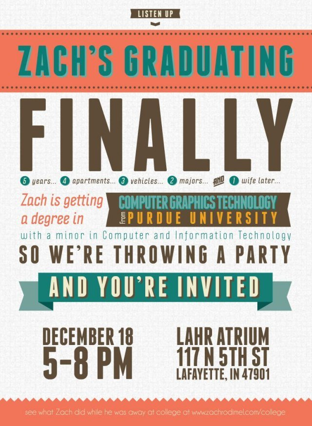 College Graduation Announcements Template Free Typography Style College Graduation Invitation