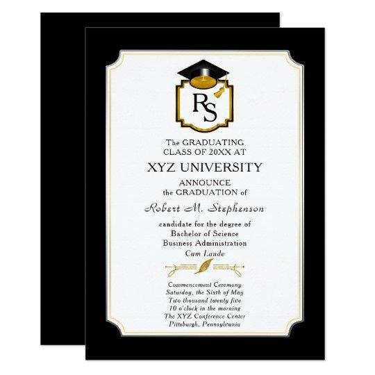 College Graduation Invitations Templates Elegant Monogram College Graduation Announcement
