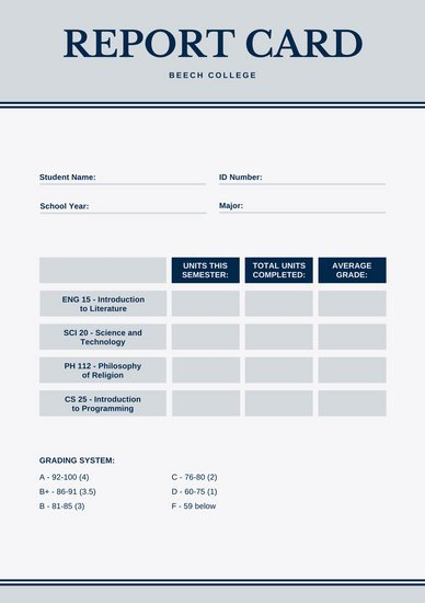 College Report Card Template Customize 134 College Report Card Templates Online Canva
