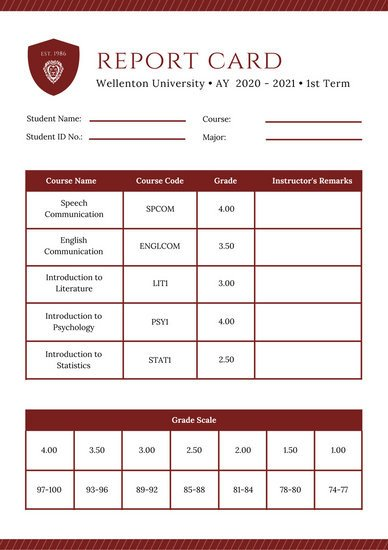 College Report Card Template Maroon Simple Striped Pattern College Report Card