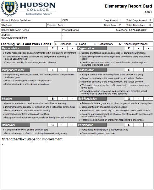 College Report Card Template the Hudson College Report Card Template