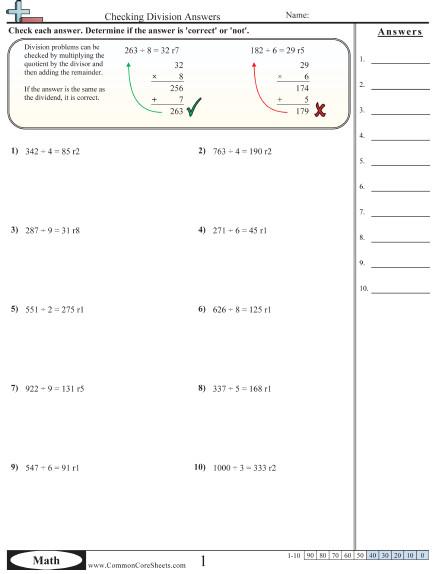 Division homework sheets