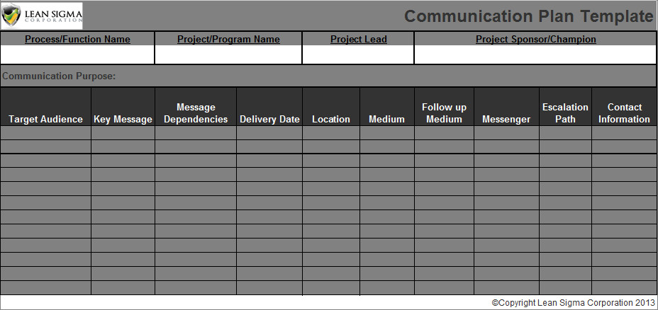Communication Plan Template Excel Munication Plan Template