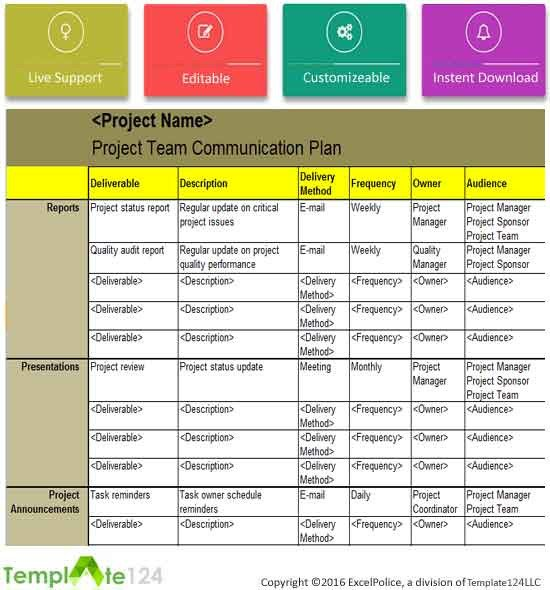 Communication Plan Template Excel Project Team Munication Plan Template Excel