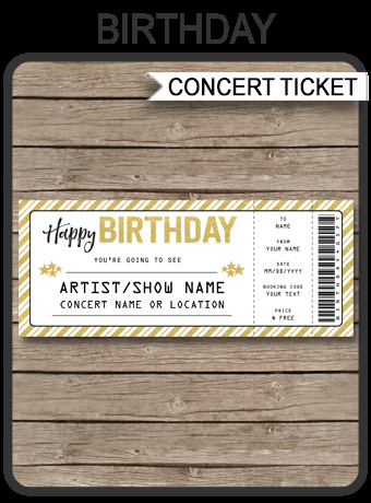 Concert Ticket Template Free Printable Concert Ticket Birthday Gift Template