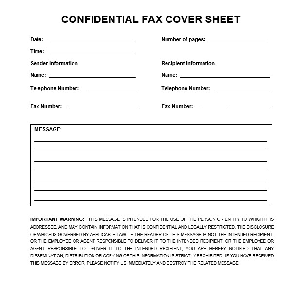 Download Confidential Fax Cover Sheet In Word & PDF