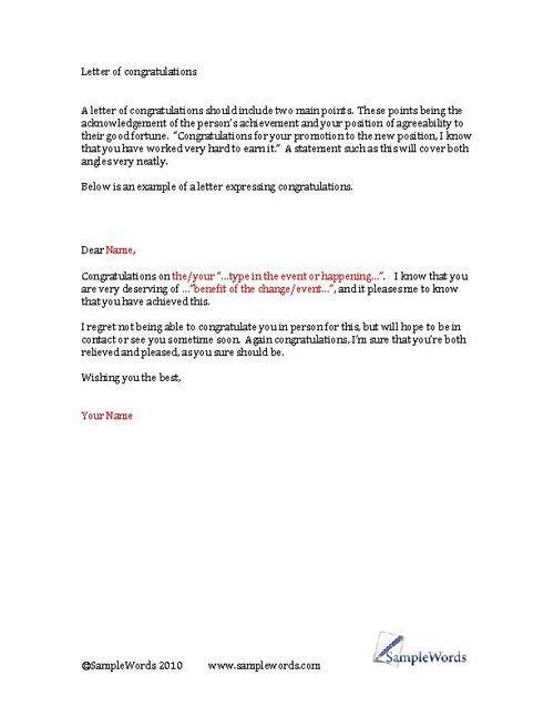 Congratulation Letter On Achievement Congratulations Letter Example Of A Congratulations