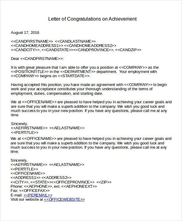 Congratulation Letter On Achievement Congratulations Letter Template 12 Free Word Document