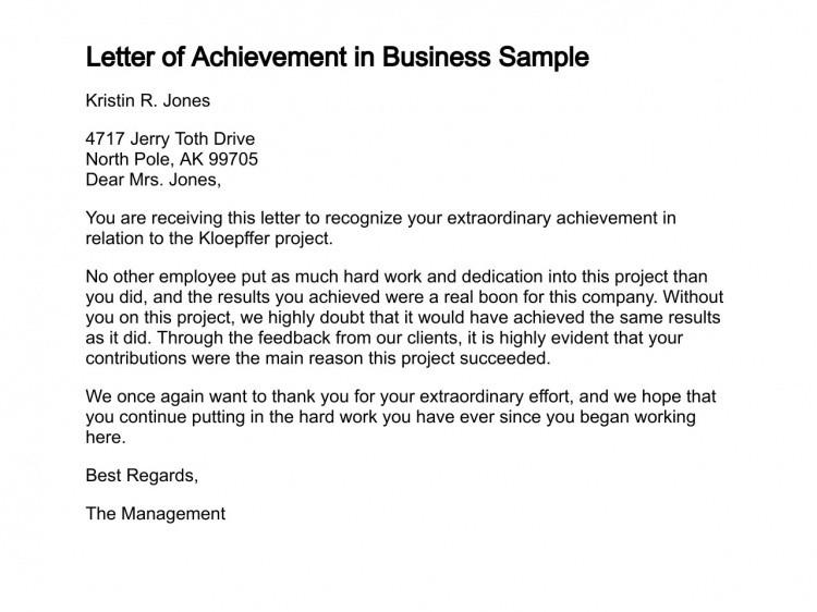 Congratulation Letter On Achievement Letter Of Achievement
