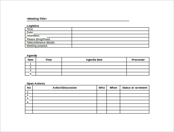Construction Meeting Minutes Template Excel 44 Sample Meeting Minutes Template Google Docs Apple