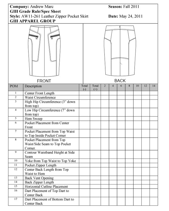 Construction Spec Sheet Template How to Spec A Leather Skirt University Of Fashion