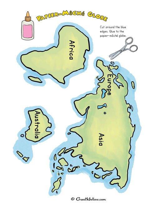 Cut Out 7 Continents and Papier mâché Paper Mache Globe