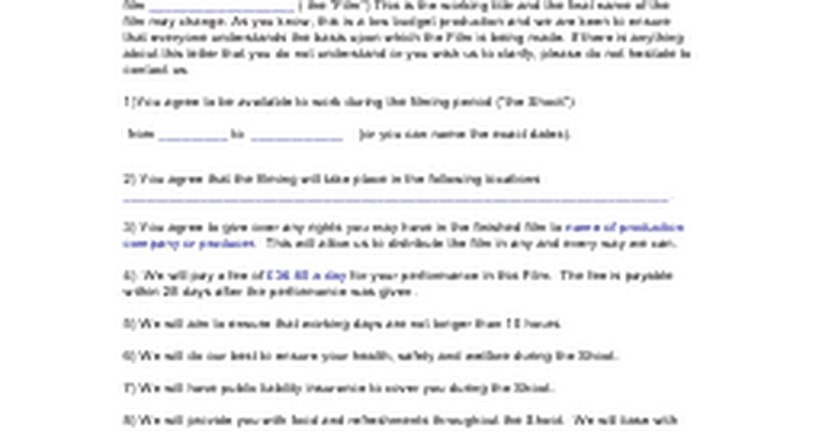 Actors Contract Templatec Google Docs