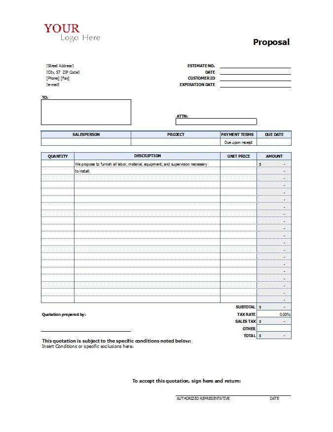 Contractor Bid Sheet Template Construction Proposal Template